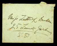 Autograph letter and envelope by Henry James to Miss Lathrop Dunham